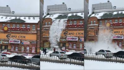 в Днепре снег с крыши