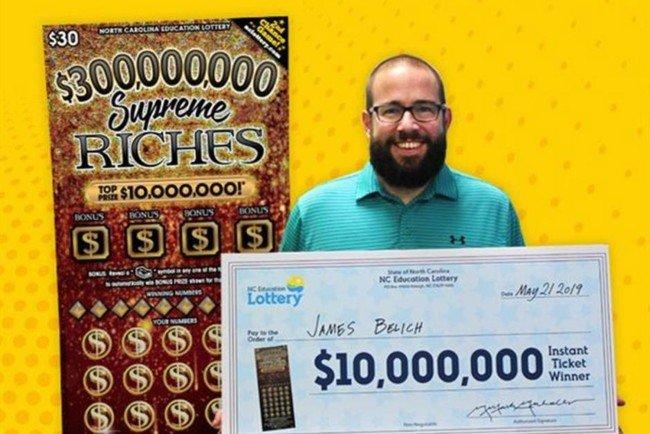 Джеймс Белич выиграл в лотерею 10 млн долларов