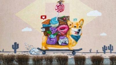 Верь в себя: в Киеве появился новый мурал с собакой (фото)