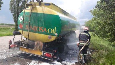 На Дніпропетровщині загорівся бензовоз (Фото)