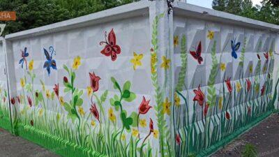 На Дніпропетровщині звичайну стіну прикрасили квітами та метеликами