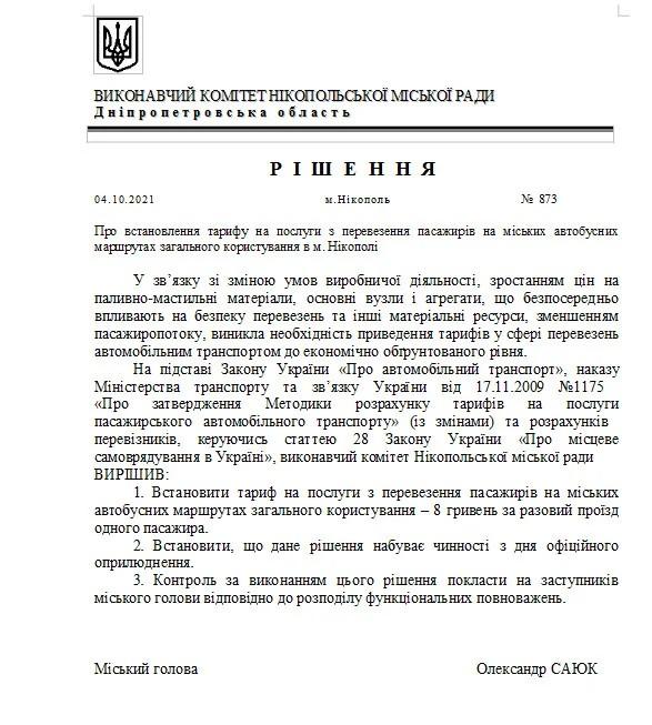 решение Никопольского горсовета